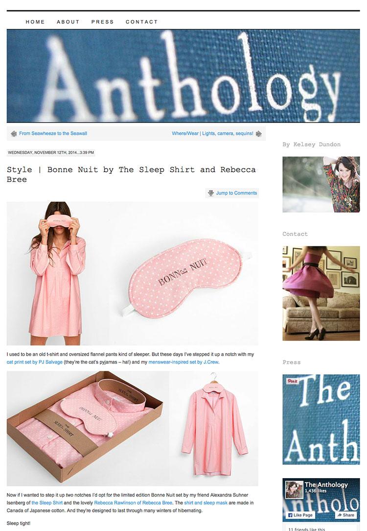 the anthology, press, blog, the sleep shirt, vancouver
