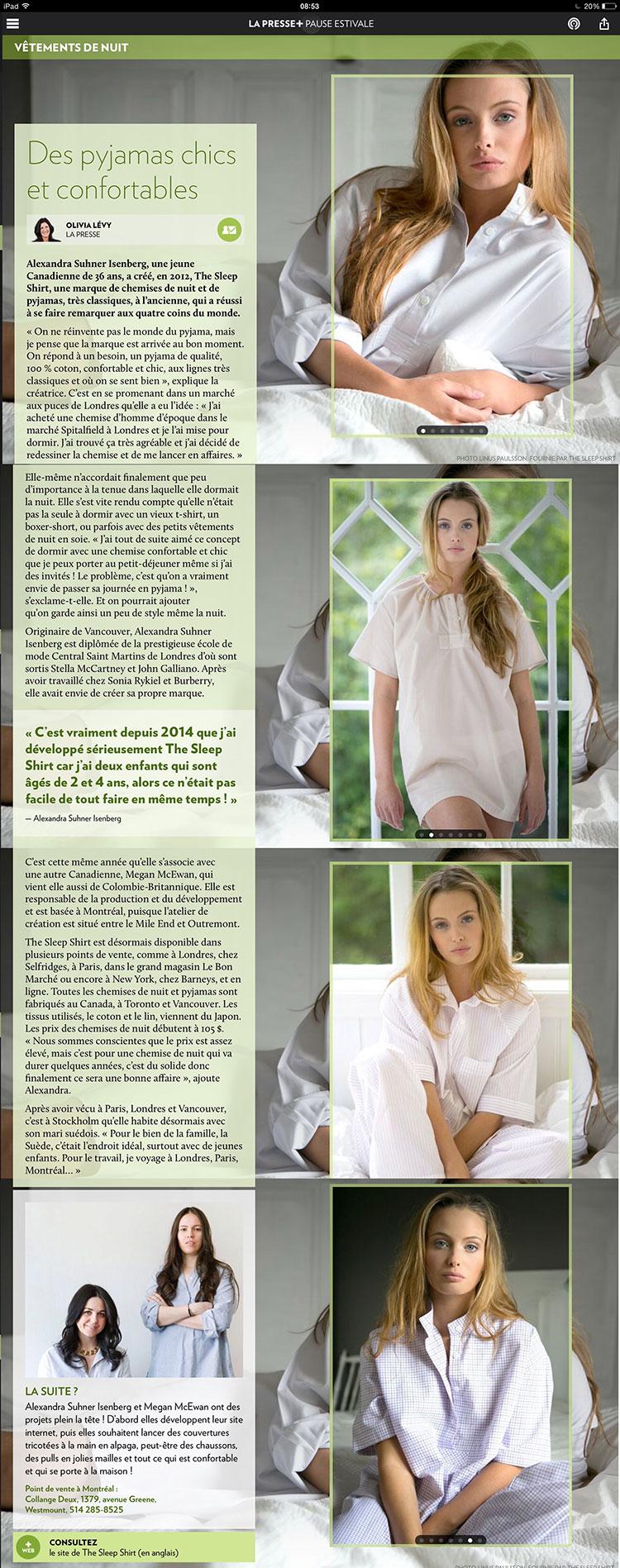 la presse, press, newspeper, the sleep shirt, quebec, canada