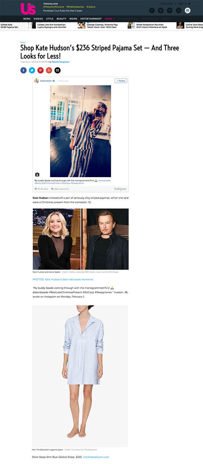press, pyjamas, celebrity fashion, kate hudson, pajamas, the sleep shirt, striped pajamas