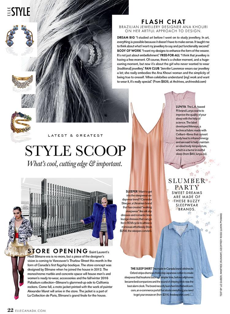 press, elle canada, magazine, luxury sleepwear, nightwear, made in canada, canadian fashion