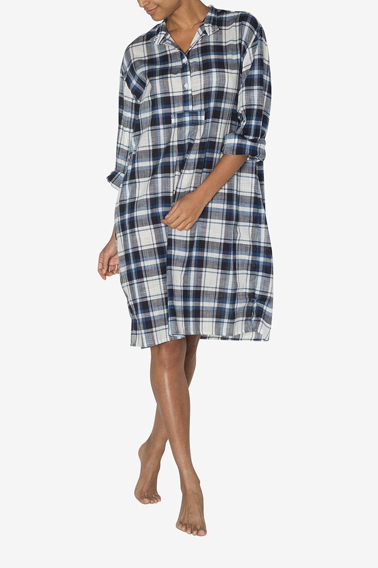 The sleep shirt fall 2017 luxury sleepwear collection for Navy blue plaid shirt