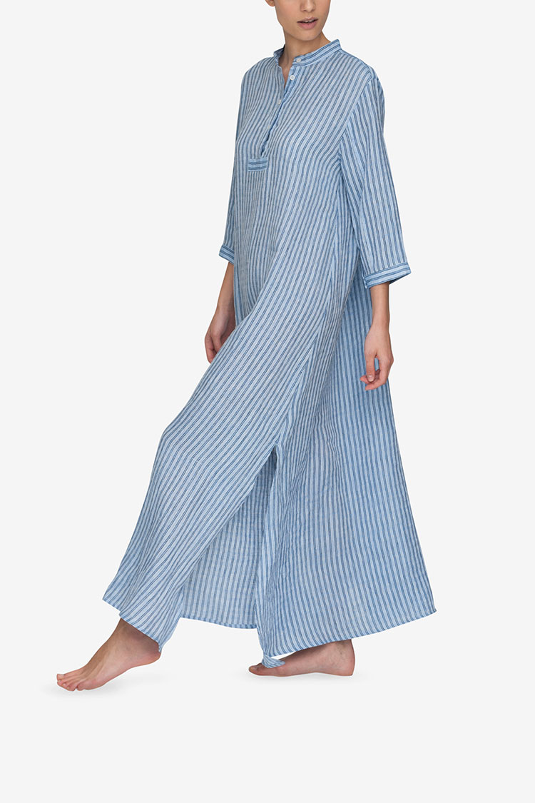 Full Length Sleep Shirt Double Blue Stripe Linen 32b9c77a8
