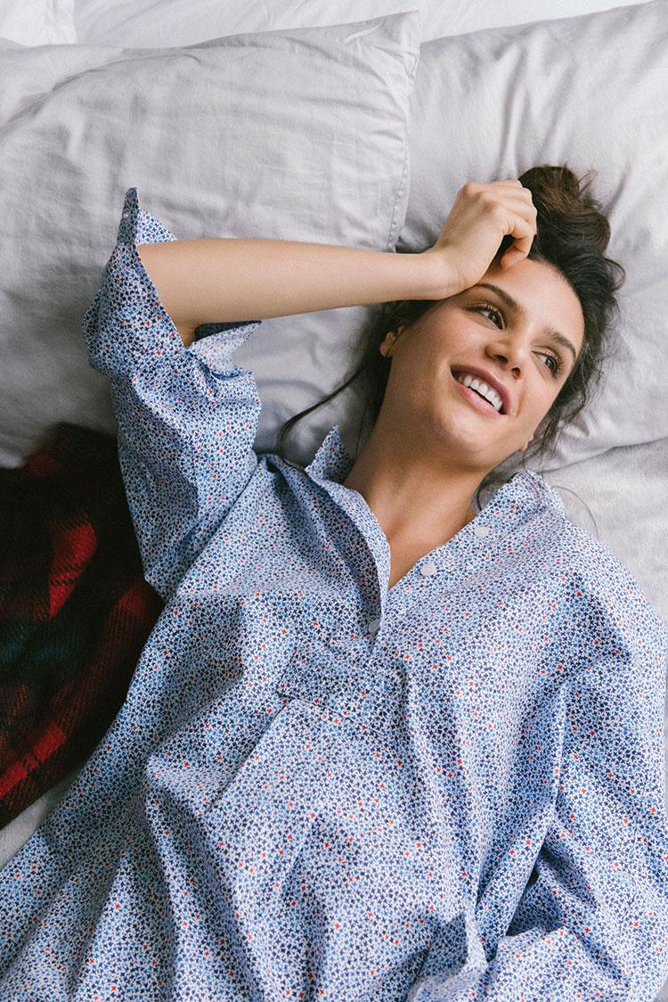Blue and White sleep shirt